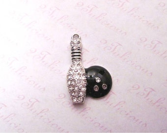 Bowling Ball and Pin Crystal Pendant Antique Silver Sports Charm
