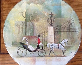Collectible Vintage Victorian Design Tin - Horse and Carriage