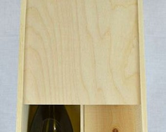 """72st-14x8x4 Two large wine or champagne bottle slide top box, inside 14"""" x 8"""" x 4"""""""