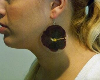 Large Dark Purple Pansy Earrings