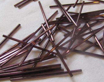60mm Bugle Beads, Purple 15 per package, Vintage Bugle Beads, glass tube beads, purple glass bugle bead