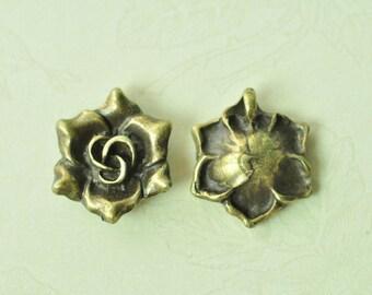 10pcs Antique Bronze 3D Rose Flower Charms 17mm MM937