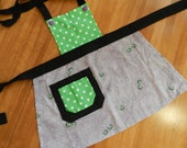 Toddler Apron: Green polka dot top w/ gray ladybug skirt