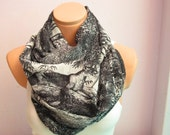 Black White Forest and Tiger Patterned Infinity Scarf Shawl Circle Scarf Loop Scarf Gift Idea Necklace scarf