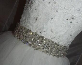 Pearl and Rhinestone Floral Bridal Sash - Wedding Dress Belt