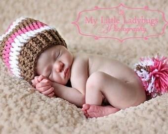 Newborn Baby Girl Pink Long Pom Elf Hat Crochet Photo Prop