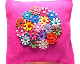 Divine Cushion - Needle Felted Cushion - Handmade Wool - Home decoration - Felt Flowers