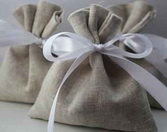 Set of 100 - Wedding Favor, Wedding Bags. Oatmeal Grey Linen Favor Bags