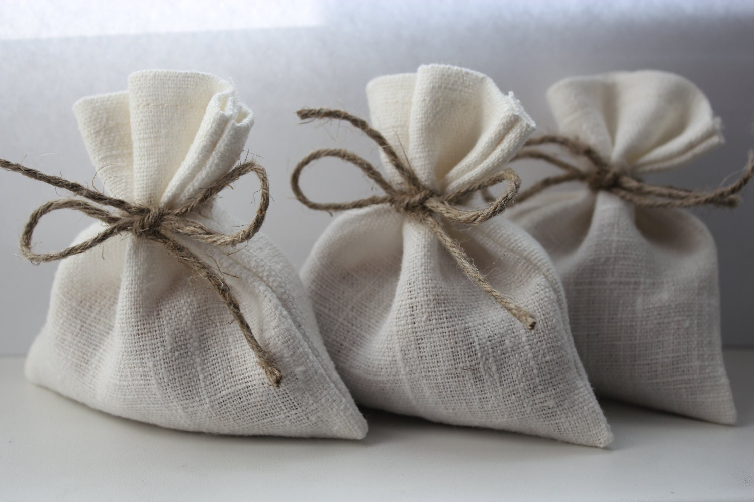 Set of 10 Wedding Favor Bags. White Linen Favor Bags by DecoLinen