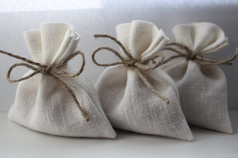Wedding Favor Bags Cheap : Set of 10 Wedding Favor Bags. White Linen Favor Bags by DecoLinen