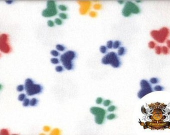 """Fleece Animal Print Pawprint Multicolor Fabric / 58"""" Wide / Sold By the Yard"""