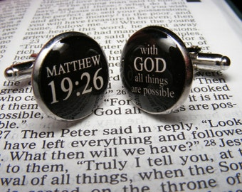 Matthew 19 26 - With God all things are possible - Cufflinks - Christian Quotes - Religious Gift - Bible - Inspirational - Confirmation Gift