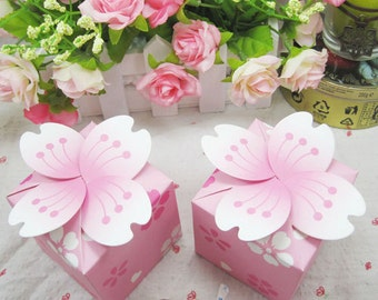 100pcs Japan design  pink cherry blossom Wedding Favor box Marriage Party Boxes gift box wedding box sweet love baby shower birthday party