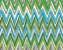 REMNANT - Down Under - Fun Stripe Aqua/Green - 7/8 Yard - Cotton Quilt Fabric - by Kanvas - Benartex (W170)