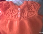 Girls Dress, pinafore, Jumper, Sweater  with  head band  fit 2-3 yrs Hand knitted with crochet finishes