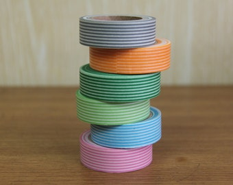 Washi Tape Set of 6  - The basic stripes set - 3006/8003/5008/5010/7005/2010