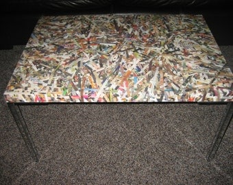 Original Coffee Table made with Recycled Magazines