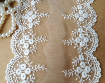 2 Yards Embroidered Lace in Off White Mesh Lace for Wedding Dress Altered Couture Lace