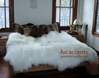 "NEW / 90"" Shaggy Off White Sheepskin Area Carpet / Accent Throw Rug / Custom Sizes Available / Rustic Lodge Cabin Home Decor"