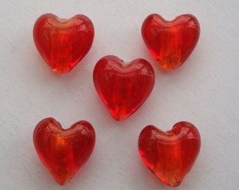 12mm foil glass heart beads red x 5 FBH008