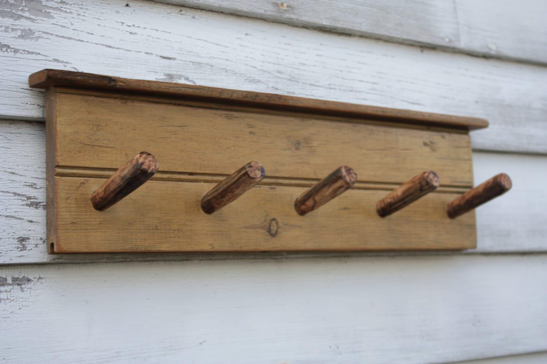 5 Peg Wall Mounted Reclaimed Wood Rack