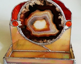 Stained Glass and Agate Cell Phone Stand