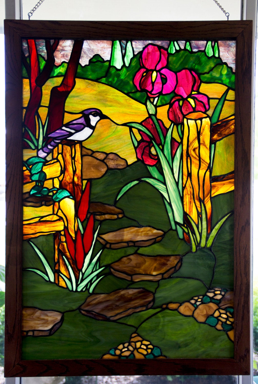custom order large garden path stained glass panel by glassplendor. Black Bedroom Furniture Sets. Home Design Ideas