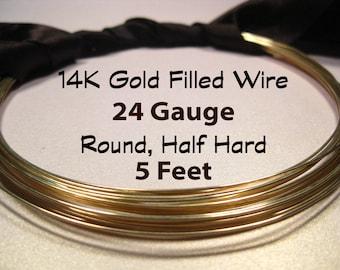 15% Off SALE!! 14K Gold Filled Wire, 24 Gauge, 5 Feet WHOLESALE, Round, Half Hard