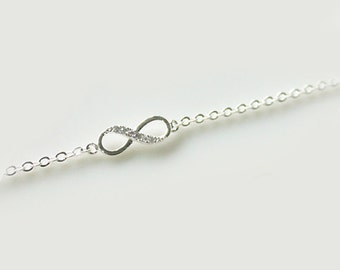 Bridesmaid gifts - Set of 4,5,6 - Infinity simple bracelet in silver