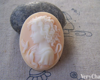 Gorgeous 1 pc Resin Victorian Lady Bird Girl Oval Cameo 30x40mm A5304