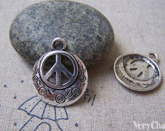10 pcs of Antique Silver Filigree Peace Symbol Charms 20mm A4960
