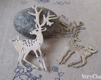 Flat Deer Antique Silver Reindeer Charm Pendants 28x60mm Set of 4 A4300