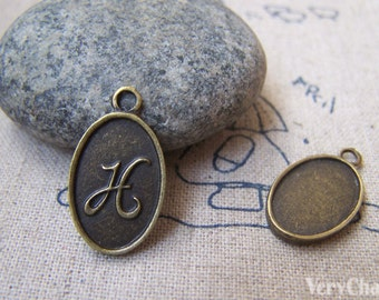 20 pcs Antique Bronze Initial Letter H Oval Charms 11x16.5mm A3068