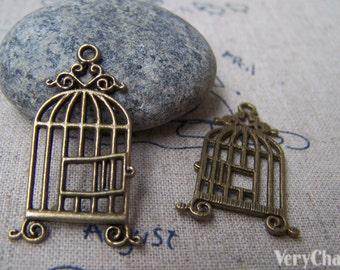 10 pcs of Antique Bronze Filigree Bird Cage Charms 17x33mm A151