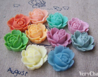 10 pcs of Resin Rose Flower Cameo Cabochon Assorted Color  19x22mm A3620