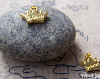 20 pcs Gold Crown Charms Flat Double Sided 10x12mm A774