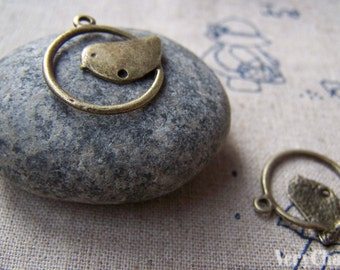 20 pcs of Antique Bronze Bird Ring Connector Charms 21mm A250