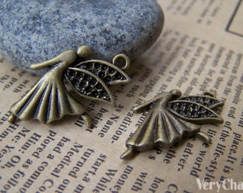10 pcs of Antique Bronze Dancing Angel Fairy Charms Small Size 18x26mm A683