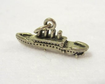 Vintage Sterling Silver 3D Cruise Ship Boat Charm/Pendant