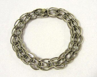 Antique vintage sterling silver Signed Elco bracelet 8.4'' Length