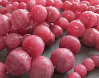 Lovely Graduated Strand of Pink Banded Natural Rhotochrosite 8-16 MM