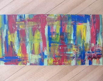 Original abstract painting, acrylic on canvas, 6'' x 12''