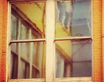 "Yellow Window reflection 8x8"" photo architecture lines pattern"