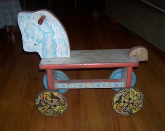 Antique Ride On Wooden Toy Horse