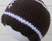 Football Hat - hand knit, babies, toddlers, and kids
