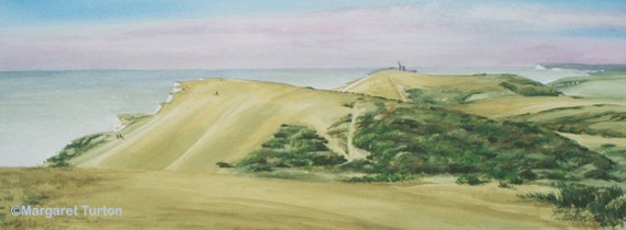 Clifftop Curves, South Downs National Park, signed, mounted print