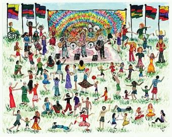 "Grateful Dead Print: ""Dancing Joy""-  Primitive Folk Art Painting"