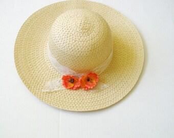 Poppy Flower hat sun-Red poppy Summer hat  -Women's Wide Brim - Floral hat- Beach- Pool hat