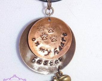 Pawprints On My Heart Handstamped Pendant