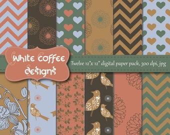 Digital Paper, Scrapbook paper, Printable goods, CIJ, Chevron, Birds, Flowers, Coral, Beige and Blue Paper, instant download, Premade pages
